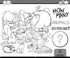 count the animals coloring book u2014 stock vector izakowski 112437762