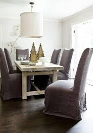 Rustic Table And Chairs Furniture Upholstered Dining Chairs Grey Slipcovered
