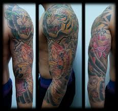 japanese sleeve tattoos in color japanese tiger sleeve