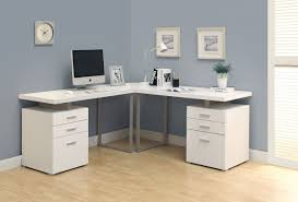 Grey Office Desk Corner Study Desk With Hutch Modern White High Gloss Finish Office
