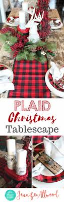 plaid christmas buffalo check tablescape for less than 100 from hobby lobby