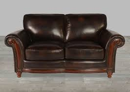 Full Grain Leather Sofa With Nailheads - Full leather sofas