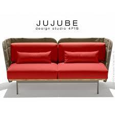 assise canape canapé d intérieur 2 places jujube structure acier dossier et