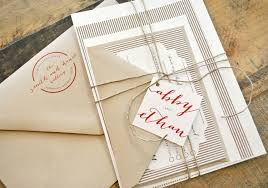 luella wedding invitation suite with twine tie and monogram