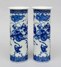 Chinese Blue And White Vase Pair Chinese Blue And White Cylindrical Vases