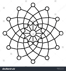 simple floral mandala pattern easy doodle stock vector 576704296