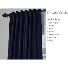 Navy Tab Top Curtains Beaute Handcrafted Navy Blue Cotton Velvet Curtain