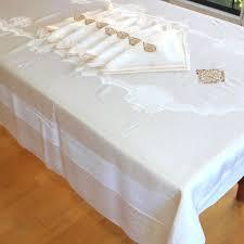 fantastic silk brocade monogrammed table cloth and seven napkins