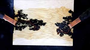 fractal lichtenberg figure wood burning with electricity youtube