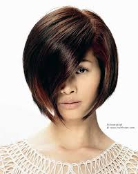 bob cut hairstyle front and back dark and thick asian hair with reddish brown streaks