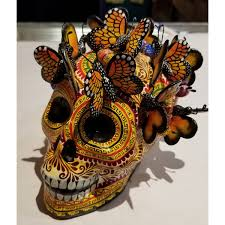 ceramic monarch butterfly skull by the castillo family milagros