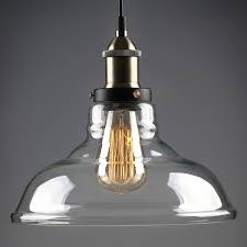 Industrial Glass Pendant Light 1 Light Industrial Glass Pendant Light Edison Vintage Style Clear