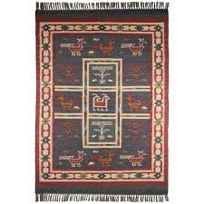 hand woven blue tribal print wool and jute rug 8 u0027 x 10 u0027 free