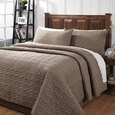 Quilted Cotton Coverlet Zig Zag Taupe Textured 3 Piece Cotton Quilt Set On Sale Free