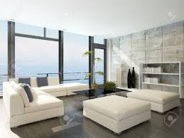modern living room with huge windows and concrete stone wall stock