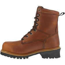 florsheim mens brown wp leather logger work boots lumberjack comp