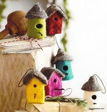 roost felt birds house ornaments set of 12 bird houses