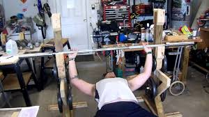 Home Bench Press Workout Homemade Bench Press And Squat Rack Youtube