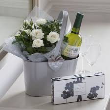 Flowers And Gift Baskets Delivery - white wine a small little plant a simple gift gift ideas