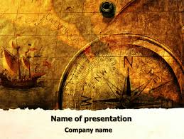 ancient map with compass powerpoint template backgrounds 09769