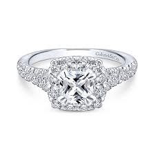 Cushion Cut Halo Diamond Engagement Ring In Platinum Cushion Cut Diamond Engagement Rings Gabriel U0026 Co