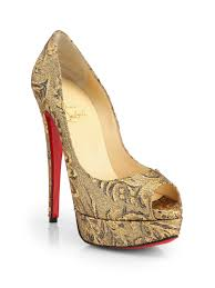 christian louboutin lady peep brocade platform pumps in natural lyst