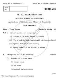 question paper applied statistics applications of statistics