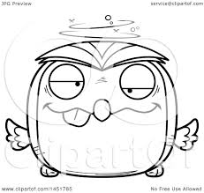 clipart graphic of a cartoon black and white lineart drunk owl