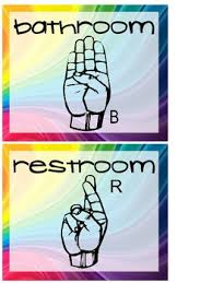 Bathroom Sign Language Wall Posters Of Hand Signals For Bathroom Water And Tissue By 24