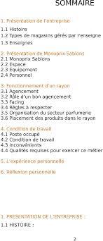 rapport de stage 3eme cuisine rapport de stage monoprix pdf