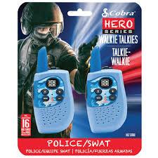 cobra hero police u0026 swat 16 mile 22 channel 2 way kids walkie