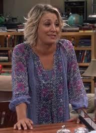 pennys hair on big bang theory blouse penny blue purple floral big bang theory kaley cuoco