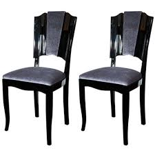 Art Deco Dining Room Set by Pair Of Art Deco Dining Chairs With Directoire Style Backs