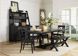 black wooden dining table set furniture dining room long black bench in modern themed with