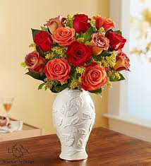 Lenox Vase With Rose Autumn Sunset Bouquet In Lenox Vase 147196s In Boulder Co