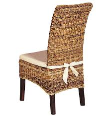 White Dining Chair Cushions Banana Leaf Woven Side Chair With Cushion Rattan Grasses And Dining