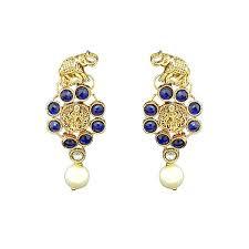 danglers earrings design kriaa elephant design gold plated dangler earrings jewelmaze