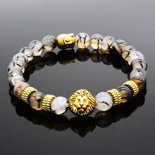 black beaded charm bracelet images Men 39 s black lava stone gold lion buddha beaded charm bracelet jpg