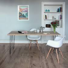 upcycled scaffold plank table top with mild steel hairpin legs