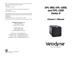 owner u0027s manual velodyne spl 1200 series ii user manual page 20