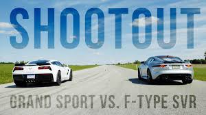 vs sports car video toy shootout corvette grand sport vs jaguar f type svr roadshow