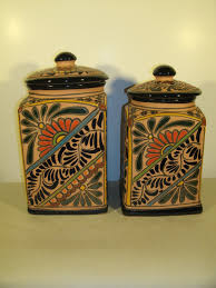 pottery canisters kitchen talavera canisters pottery terra cotta clay painted
