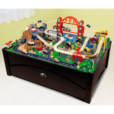 step 2 plastic train table kidkraft metropolis train set table with trundle drawer 17935