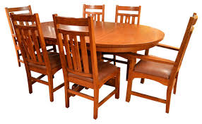 arts and crafts mission oak dining table and 6 mission oak chairs