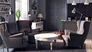 Ikea Strandmon Armchair A Lobby With Sandmon Grey Wing Chairs And Isala Coffee Table
