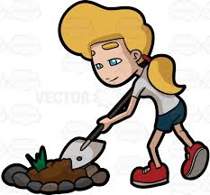a woman digging a bulk of soil from a garden patch cartoon clipart