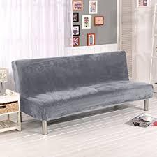 Modern Armless Sofa Folding Armless Sofa Cover Plush Silver Grey Solid