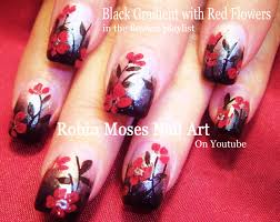 robin moses nail art diy fall nails red flowers on black and