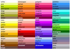 list of color list of colors colour list chart and colour chart