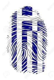 Greece Flag Colors Greece Flag On Finger Print Stock Photo Picture And Royalty Free
